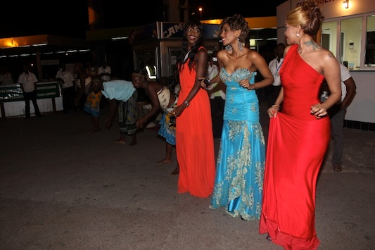 Wema, Miriam and Mange dancing to some traditional music 'ngoma'