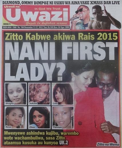 Leo gazeti la udaku la Uwazi katika ukurasa wake wa kwanza limeandika