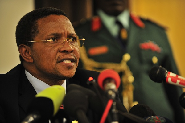 Jakaya Kikwete, president of Tanzania, answers questions at a press conference at the United Nations (UN) building in Addis Ababa, Ethiopia, during the 12th African Union (AU) Summit.