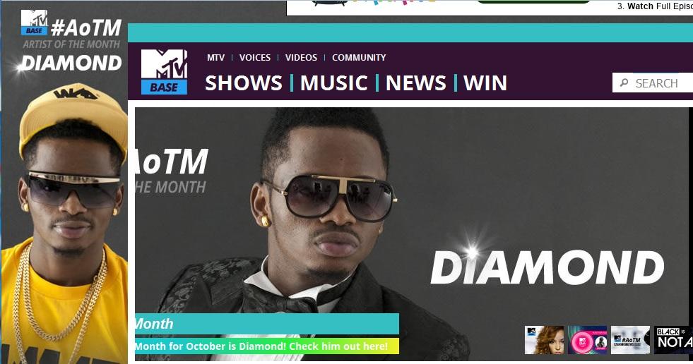 Diamond Platnumz ni msanii wa mwezi October, (#AoTM) wa MTV Base