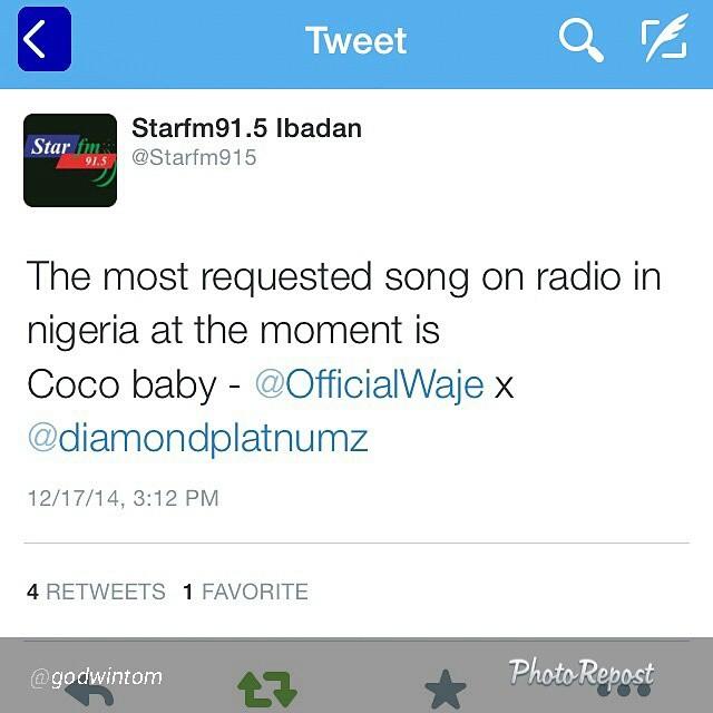 'Coco Baby' ya  Waje ft. Diamond  ndio wimbo unaoongoza kuombwa zaidi kwenye Radio nchini Nigeria kwa sasa – Star Fm