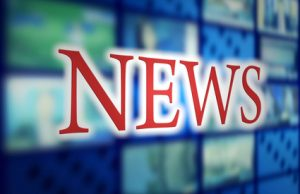 news inscription in studio tv