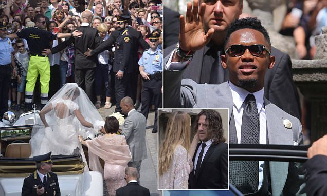 Wedding of the former football player Samuel Eto'o with Georgette Tra Lou in Stezzano (Bergamo Province) on June 14, 2016 Pictured: Wedding of the former football player Samuel Eto'o with Georgette Tra Lou in Stezzano (Bergamo Province) Ref: SPL1301946 140616 Picture by: Fotogramma / Splash News Splash News and Pictures Los Angeles: 310-821-2666 New York: 212-619-2666 London: 870-934-2666 photodesk@splashnews.com